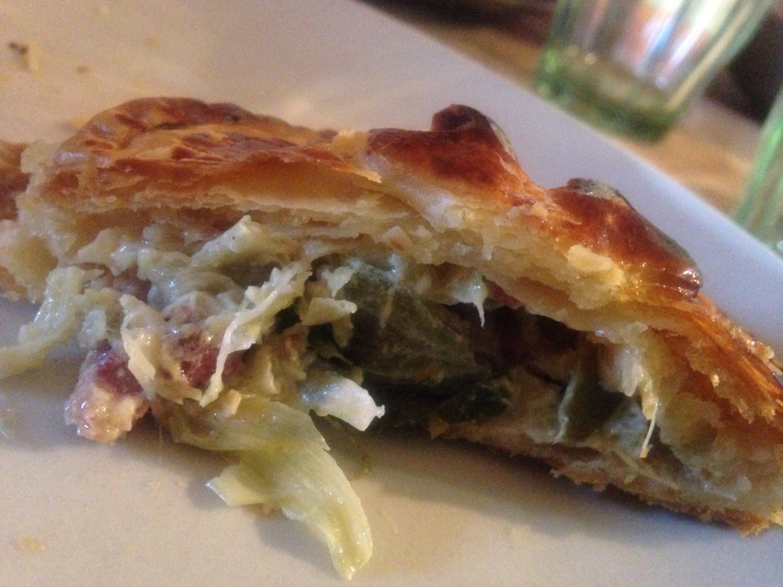 Puff pastry with lardons