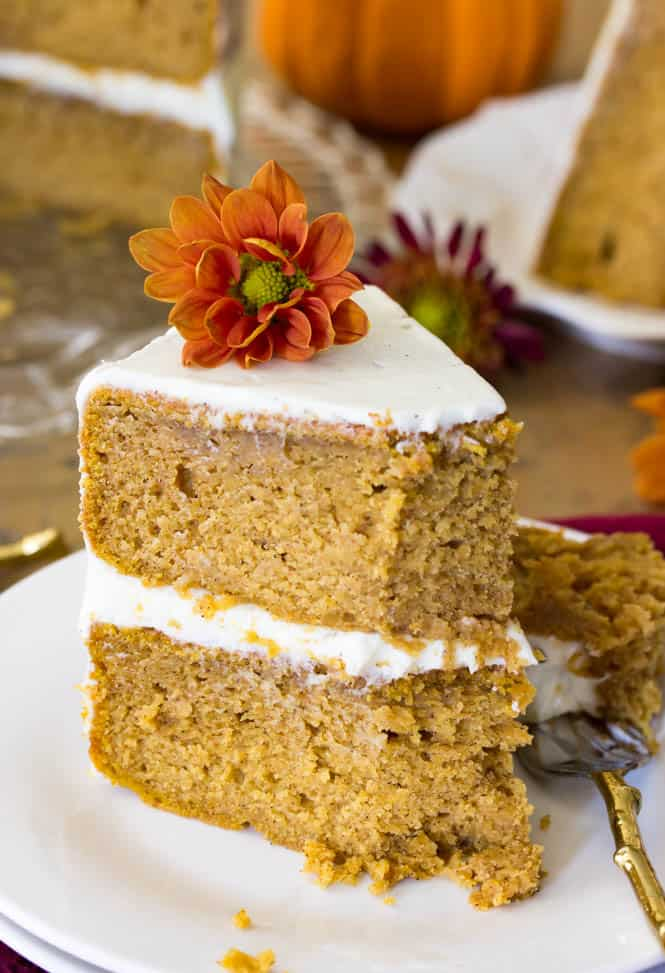 A slice of soft pumpkin cake || SugarSpunRun.com